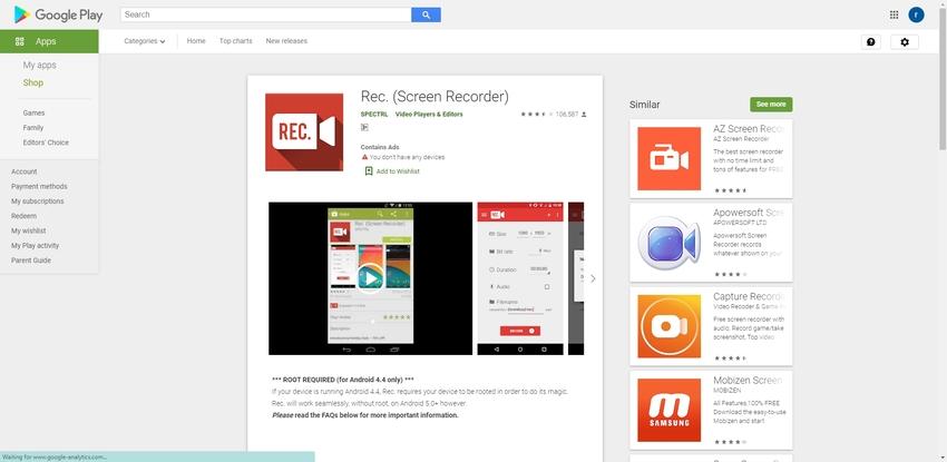 Video Capture Android-REC Screen Recorder