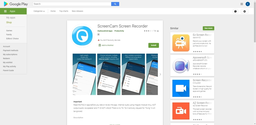 Free Screen Recorder for Android-ScreenCam Screen Recorder