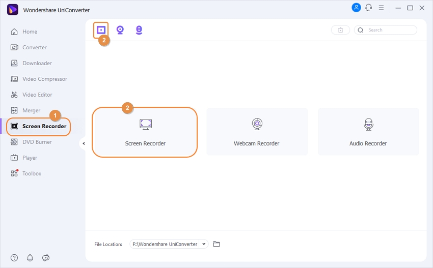 Select Screen Recorder Feature in UniConverter