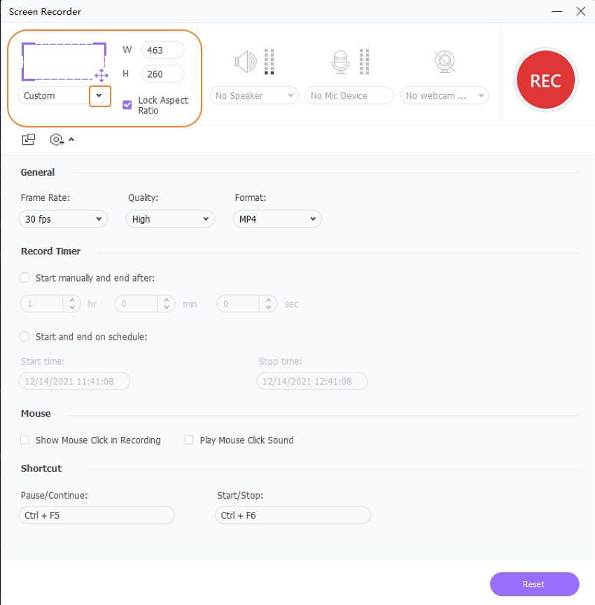 Adjust the Screen Recorder Space in UniConverter