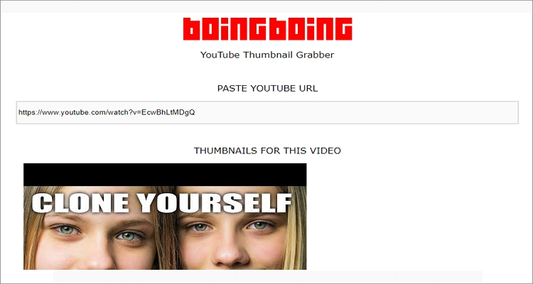 get youtube thumbnail image from url