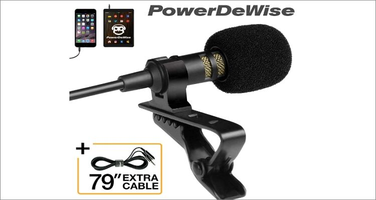 PowerDeWise Professional Grade Lavalier Lapel Microphone Omnidirectional Mic