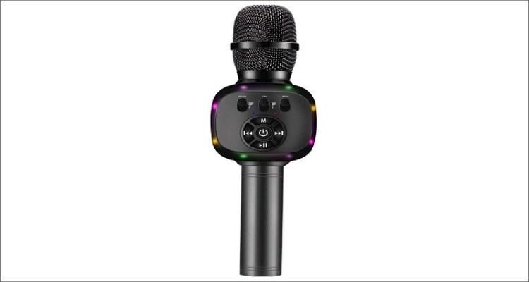 BONAOK Wireless Bluetooth Karaoke Microphone (Q88 Space Gray)