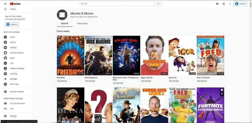 watch movie online-YouTube