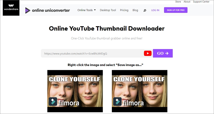 get youtube thumbnail online