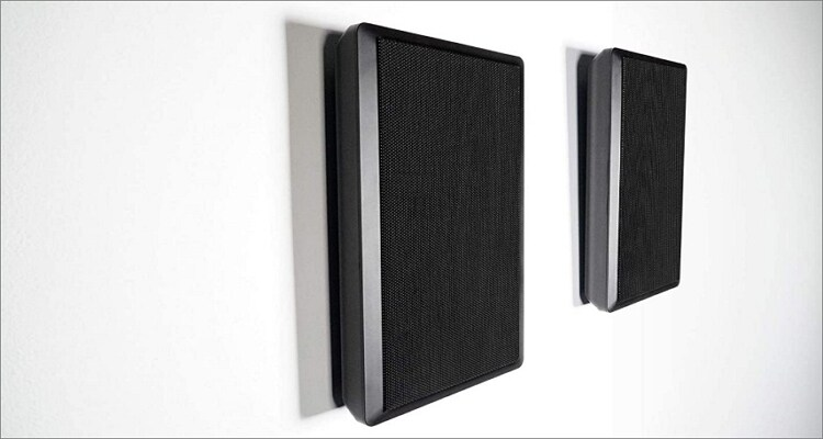 2 Rockville RockSlim Black Surround Sound Speakers