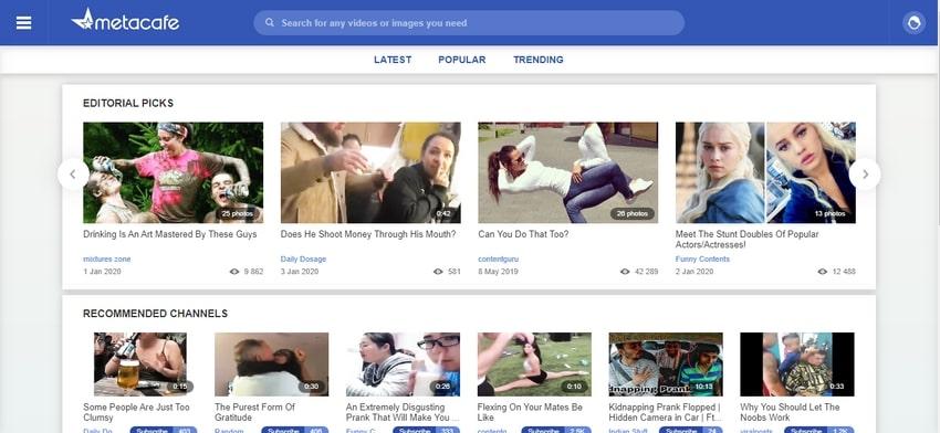 Video Sharing Website-Metacafe