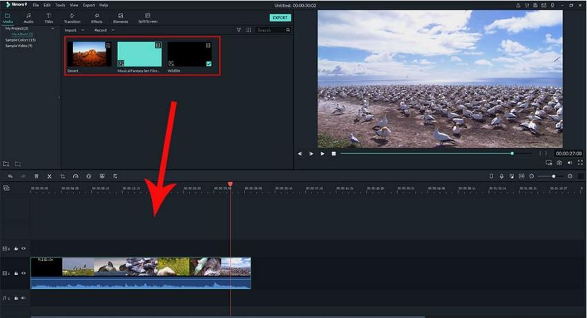 Move Video to Timeline in Filmora