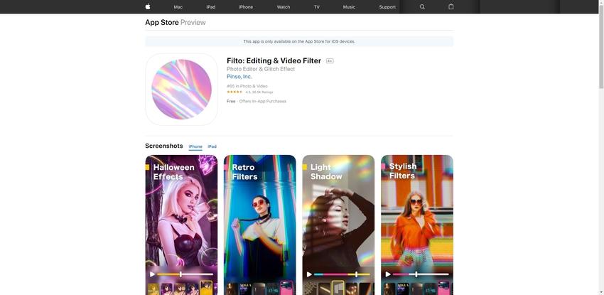 Video Filters App-Filto