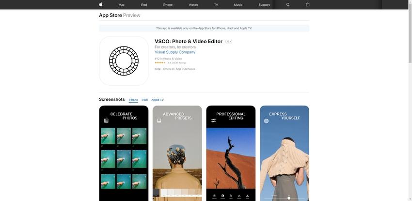 Video Filter Application-VSCO