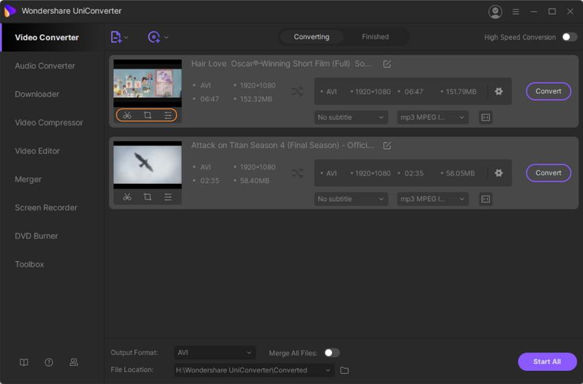 edit option in UniConverter