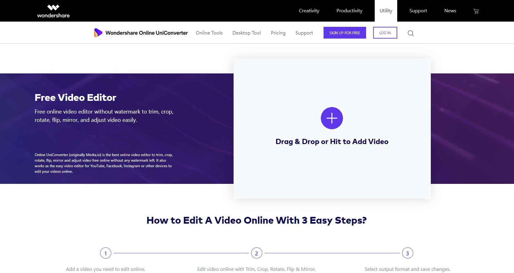 how to lighten a video in Online UniConverter