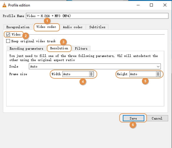 VLC compress video step 5