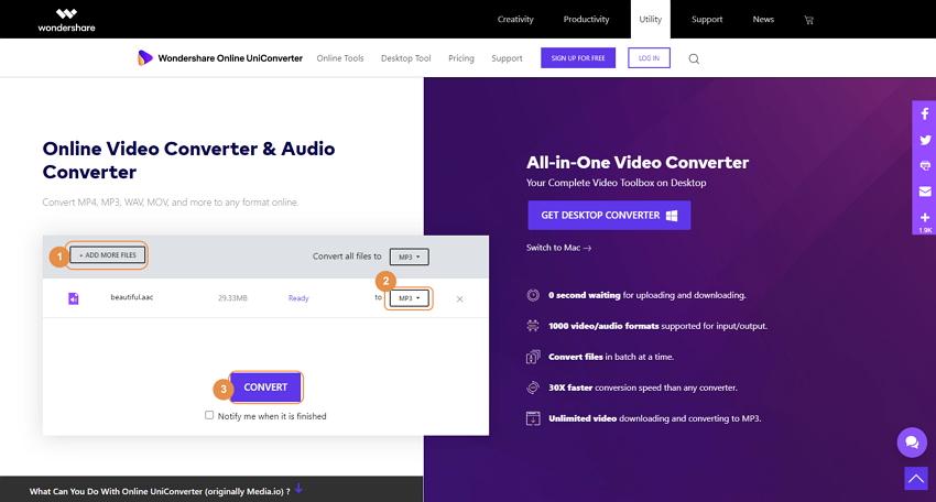 Online UniConverter - steps