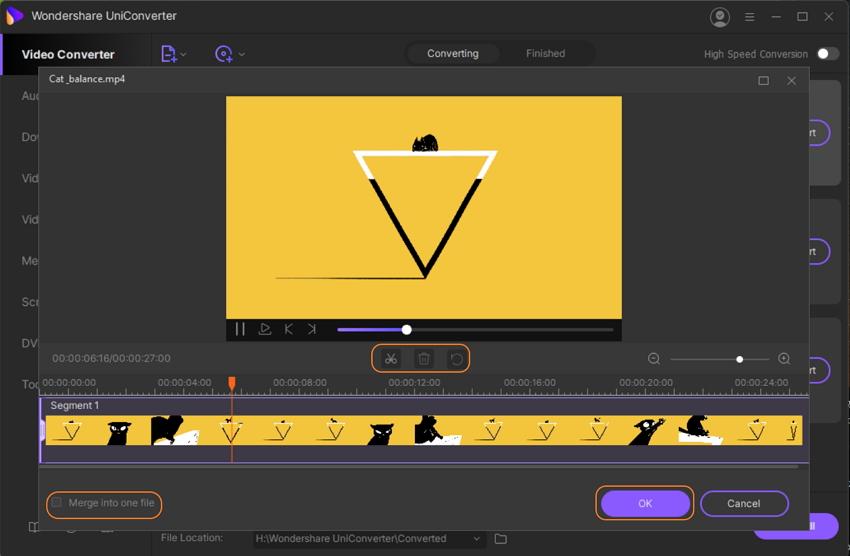 Trim a video in UniConverter