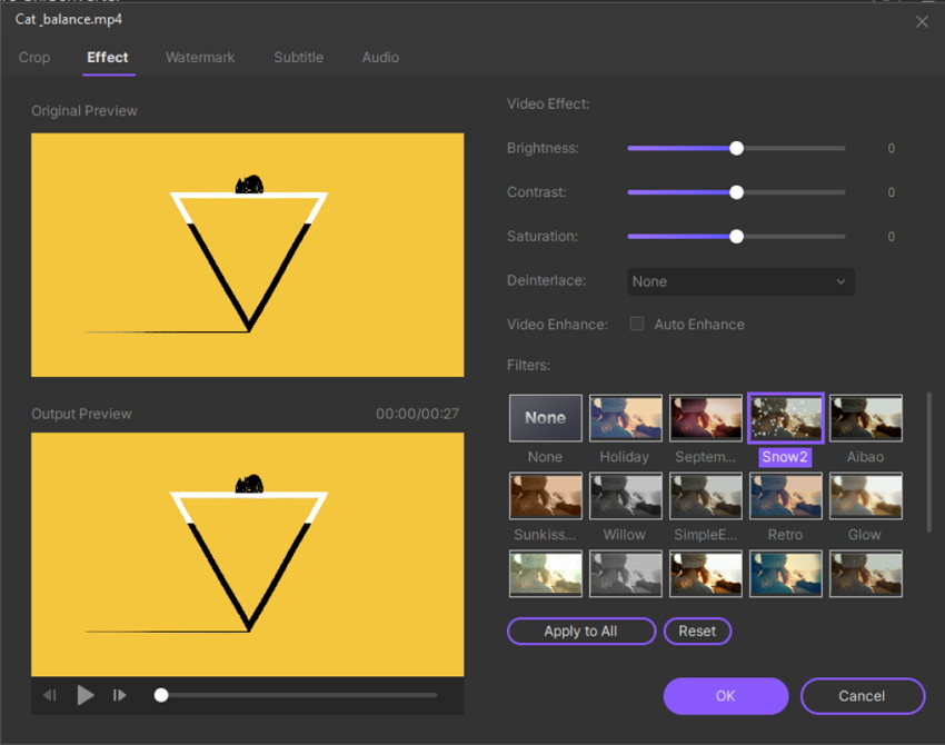 Add effects to a video in UniConverter