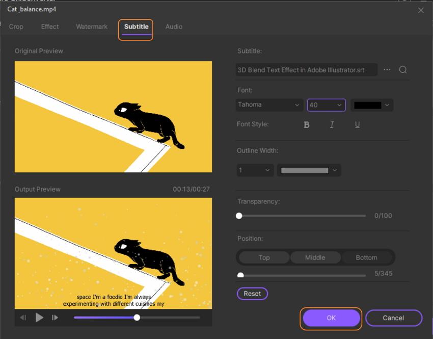 add subtitles to videos in UniConverter