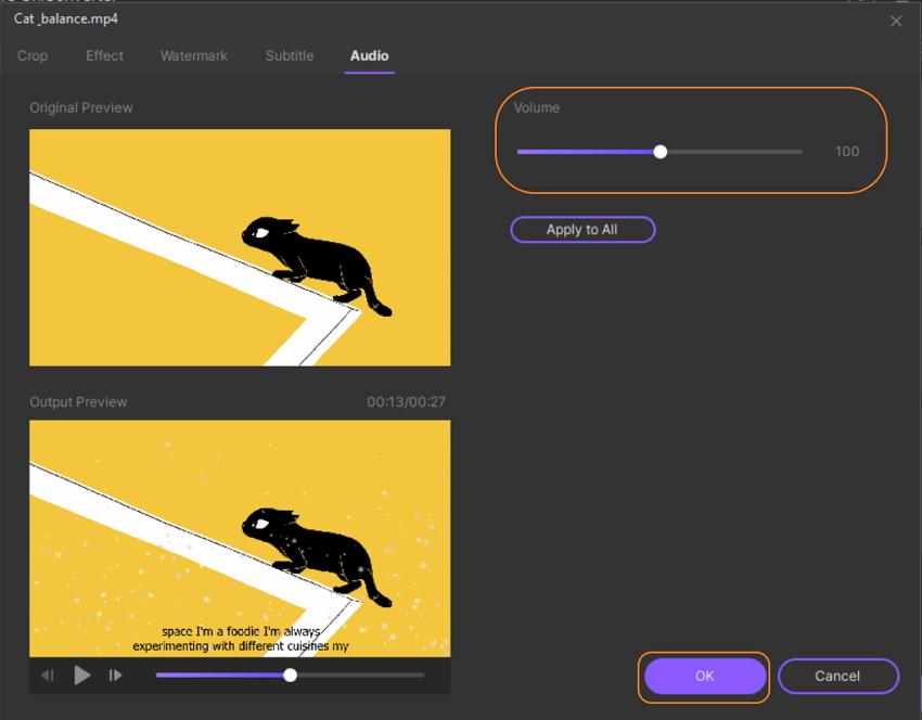 Edit video Volume in UniConverter