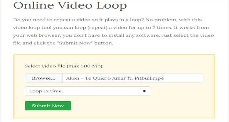 loop video with fileconverto