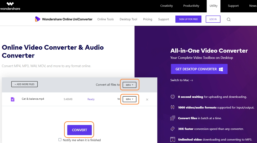 convert M4B to MP3 with Online Uniconverter-step2