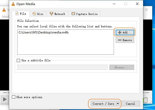 convert M4B to MP3 with VLC-step3