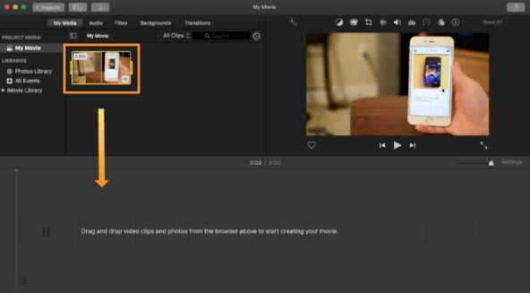 mute video imovie - step3