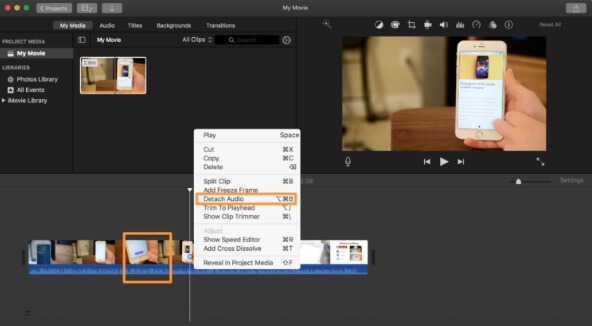 mute video imovie - step4