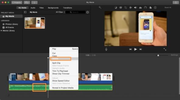 mute video imovie - step5