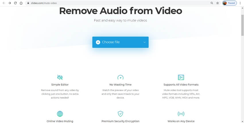remove audio from video online - clideo