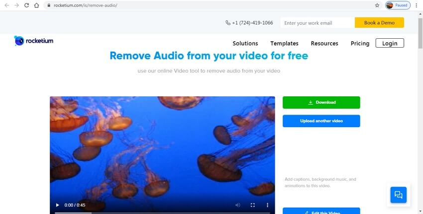 remove audio from video online - Rocketium
