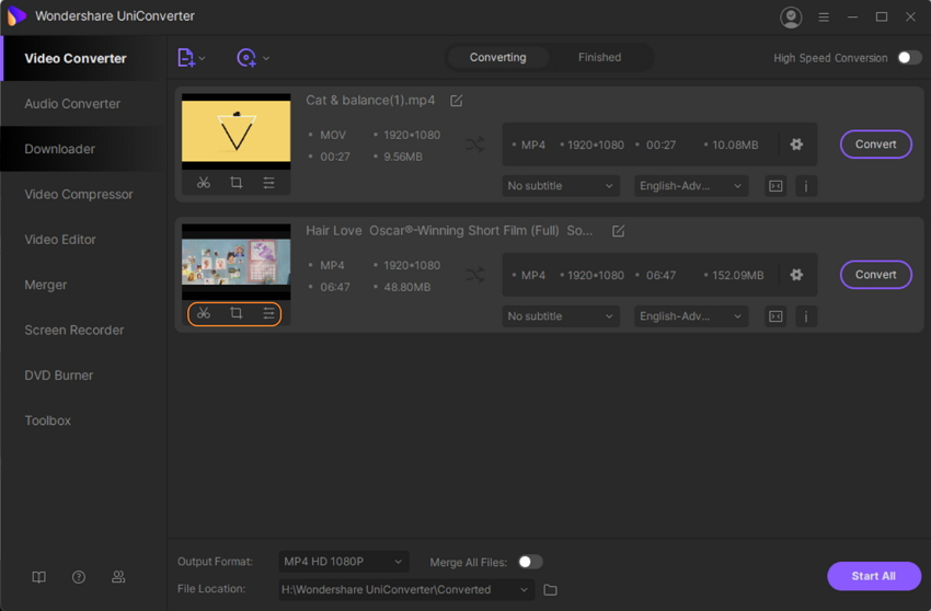 Upload Video and Select Effect Feature in UniConverter