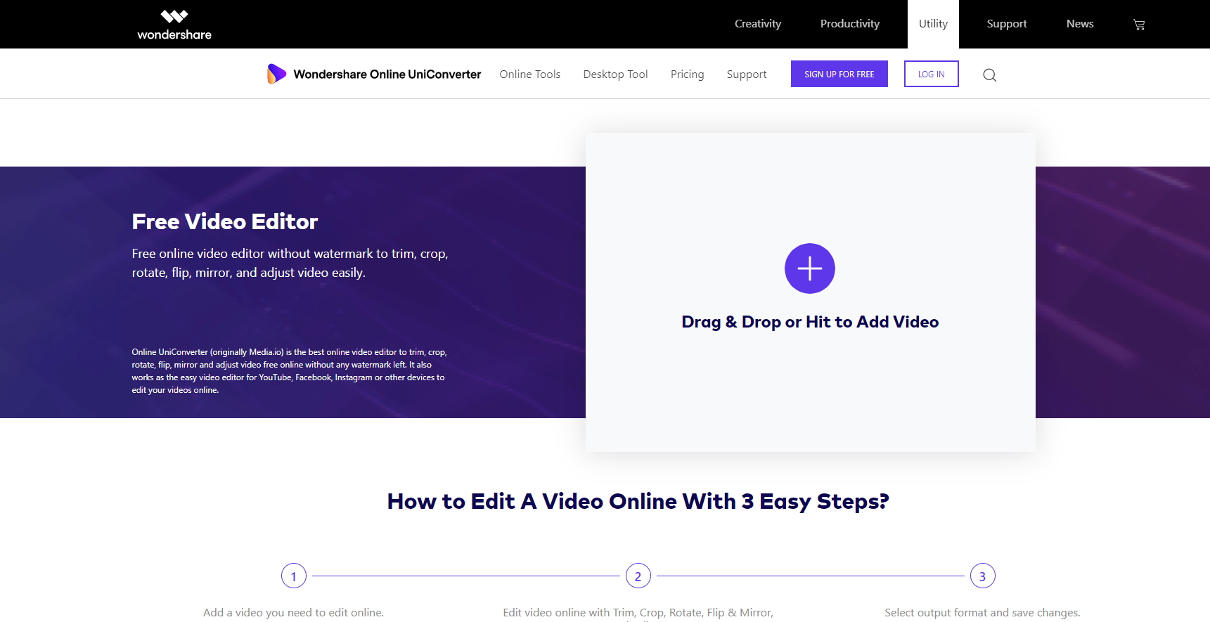 Rotate video-Online UniConverter