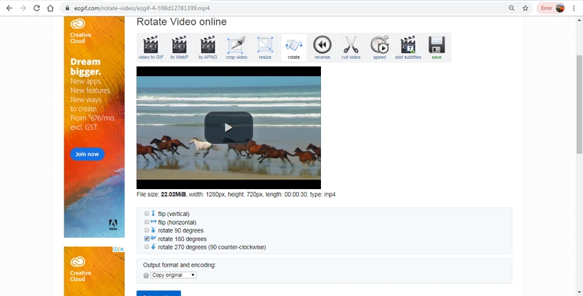 Online Video Rotator-EZGIG