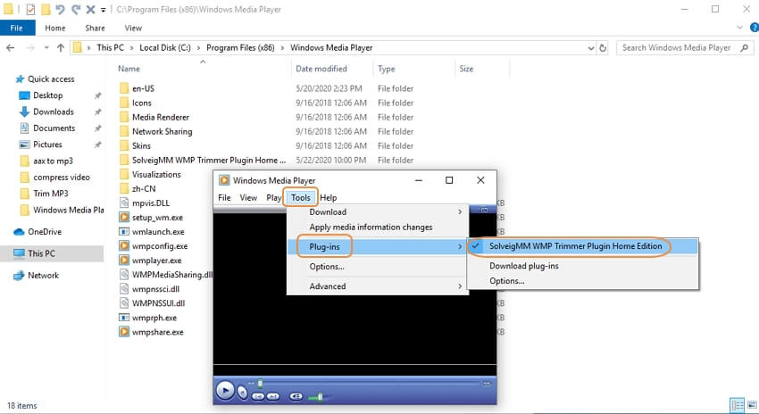 Windows Media Player trim MP3 step 2