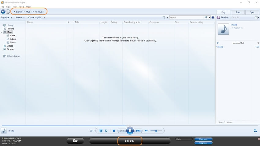Windows Media Player trim MP3 step 3
