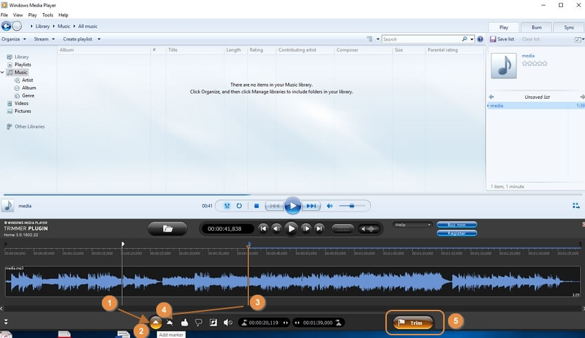 Windows Media Player trim MP3 step 4-6