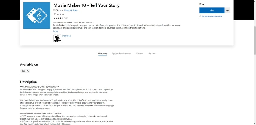 Microsoft Movie Maker 10