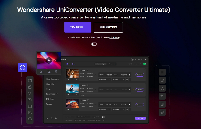 Crop Video Files in Wondershare Uniconverter