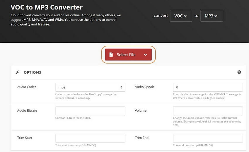 convert voc to mp3 with ClouldConvert-step1