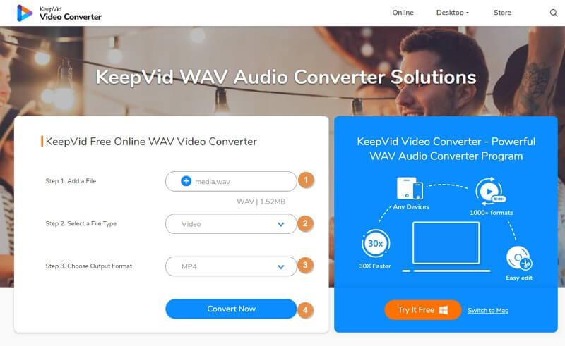 KeepVid Online Audio Converter - steps