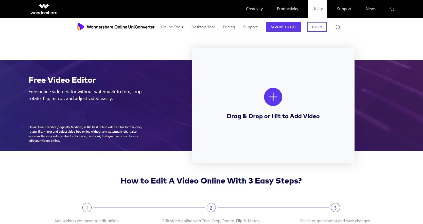edit WebM Video in Online UniConverter