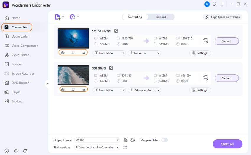 upload a WebM video to UniConverter