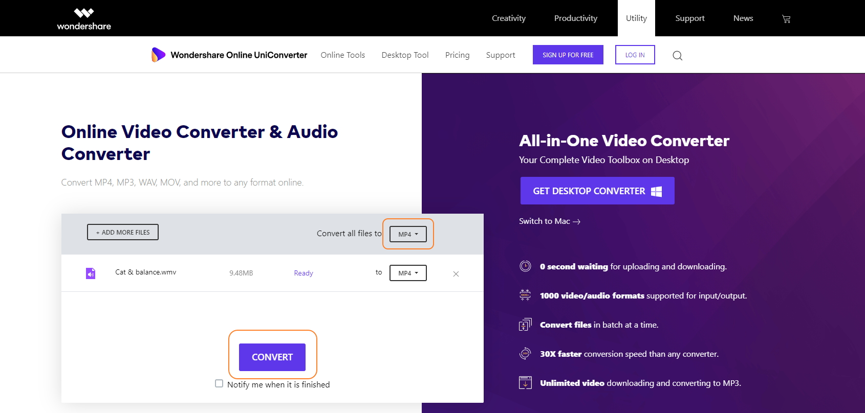Online UniConverter convert webm to mp4 step 5