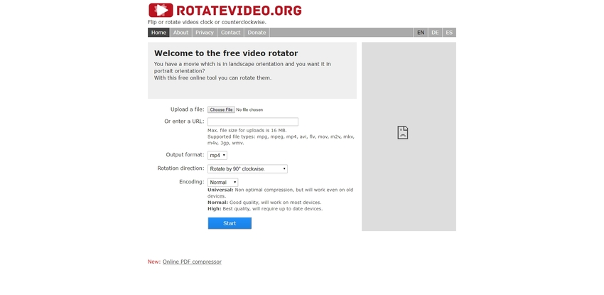 Rotatevideo WMV editor